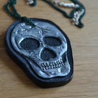 Leather skull necklace