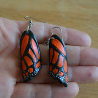 Hand-tooled and painted monarch butterfly earrings