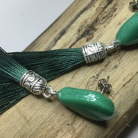 Sparkling green  ceramic tassel earrings