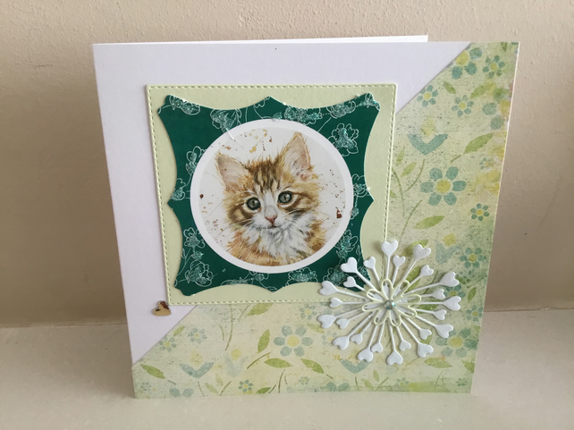Brown tabby kitten in green