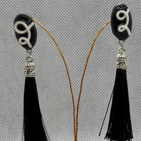 Black and white drop tassel
