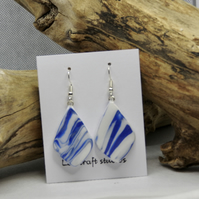 Dark blue watercolour effect   ceramic earrings