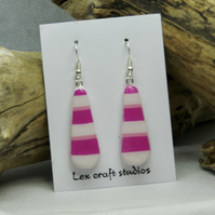 Hot pink stripe ceramic earrings