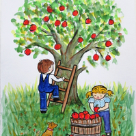 Apple Harvest. Children at Play. Original painting