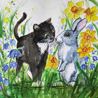 Cat and Rabbit in a Flower Meadow. Painting