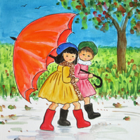 Best Friends and an Umbrella. Painting