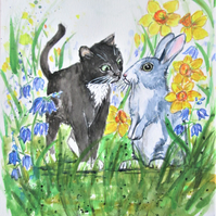 Kitten and Rabbit painting. Daffodils and Bluebells