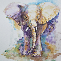 Majestic Elephant original watercolour painting
