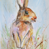 Cute Hare standing. Original Painting
