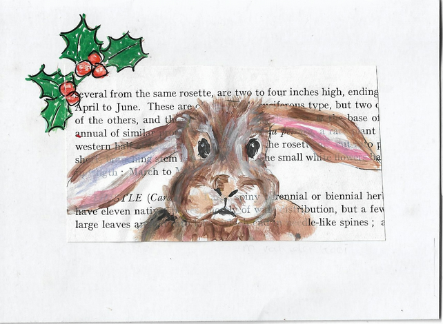 Hare Christmas Card. Original painting. One off artwork