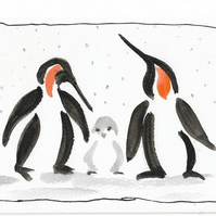 Penguin family Christmas card. Original painting