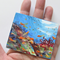 Reef with fishes Magnet. Original painting