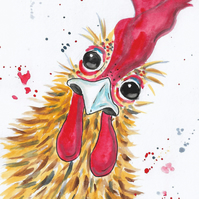 Chicken. Small original painting