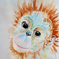 Orangutan Monkey with a sweet smile. Original painting