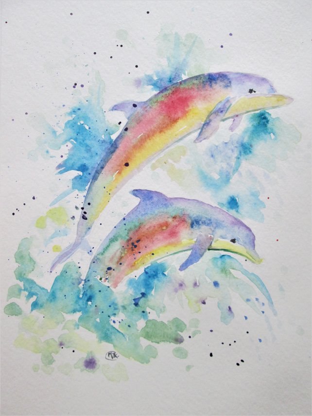 Rainbow Dolphins Playing. Original painting