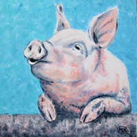 Piggy on canvas, ready to hang