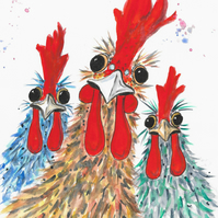 Hello Girls! Chicken original Watercolour Painting