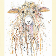 Cute Brown Sheep. Original painting