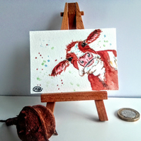 Cow miniature ACEO Original Painting