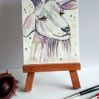 Goat miniature ACEO Original Painting