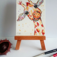 Giraffe miniature ACEO Original Painting