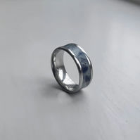 Stainless Steel ring with a sodalite and glow in the dark inlay