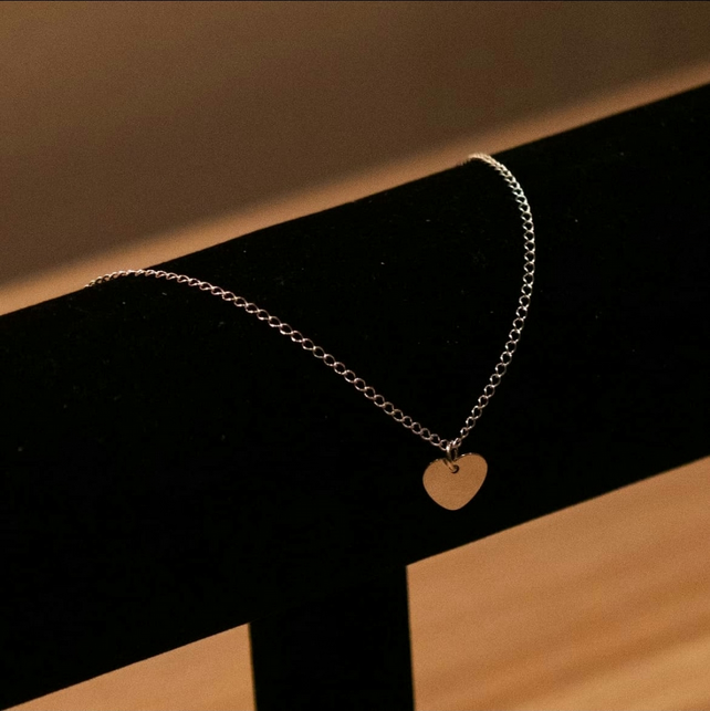 Sterling Silver Engraved Loveheart Anklet