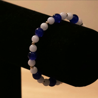 White Jade, Marble Blue & Gold Beaded Bracelet