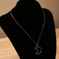 Silver Half Moon Necklace - Stainless Steel or Sterling Silver