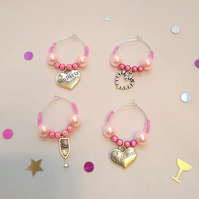 Set of 4 Hen Party wine charms