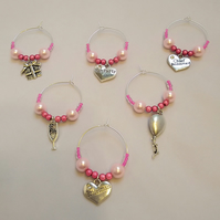 Set of 6 Hen party wine charms