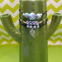 Set of 3 stacker bracelets. - blue