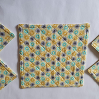 Sunshine 5 Piece Reversible Coaster Quilted Set (Ref 143)