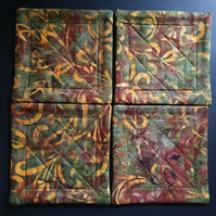 Forest Glade Batik Reversible Quilted Coasters (Ref 149)
