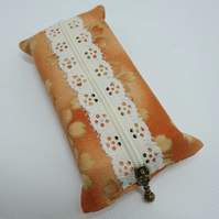 Orange and Gold Floral Zipped Tissue Holders (Ref 0186)