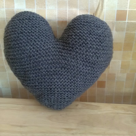 Hand-knitted Heart shape Cushion Charcoal Grey Colour
