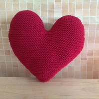 Hand knitted Heart shape Cushion Red colour