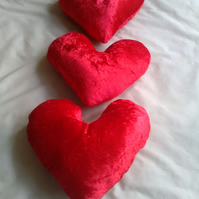 Red crushed velvet Heart Shape Cushion