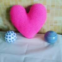 Hand knitted Heart shape Cushion Pink colour