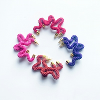 Star shaped colorful cotton earrings, Gifts for Eco friendly friend