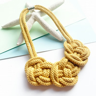Chunky Statement cotton rope necklace, Bright yellow necklace, gifts for girl