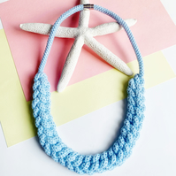 Baby Blue Statement cotton rope necklace, gift for her, necklaces for women,