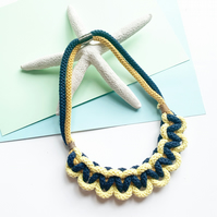 Knotted Yellow and navy statement necklace, sustainable cotton rope necklace