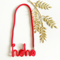 Santa Themed Red Cotton Rope necklace, Hoho word Cotton Rope Necklace, Christmas