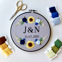 Handmade, Initials & Date Embroidery Hoop with Floral Detailing