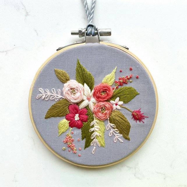 Handmade Flowers and Foliage Embroidery Hoop, Bespoke Wall Art, Embroidery Gift