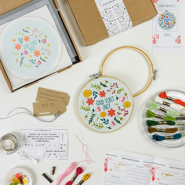 Hand Embroidery Hoop Kit, 'Good Vibes Only', Stitching Needlecraft Kit