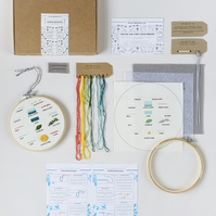 Beginners Embroidery Hoop Kit, Learn 14 Hand Embroidery Stitches, Hand Embroider