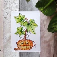 A5 Happy Pumpkin Art Print