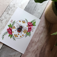 A4 Bee and Rose Art Print